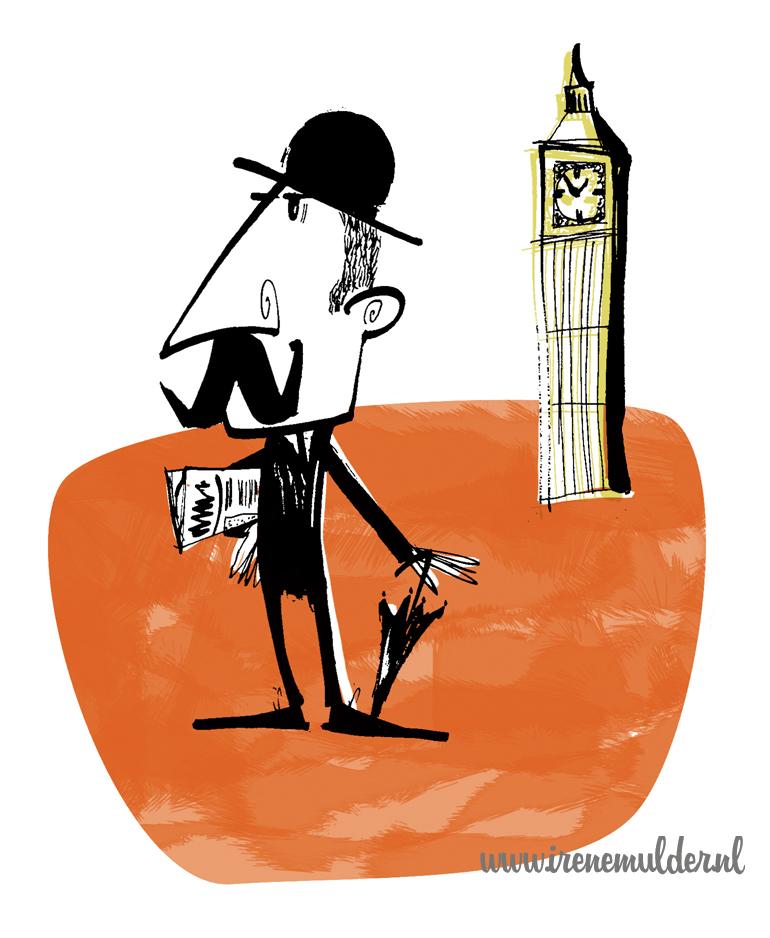 Tekening van Engelsman met bolhoed en Big Ben