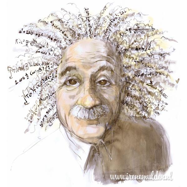 Aquarelportret van Albert Einstein met haren vol formules