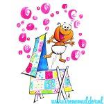 Geboortekaartje met baby springend uit wieg