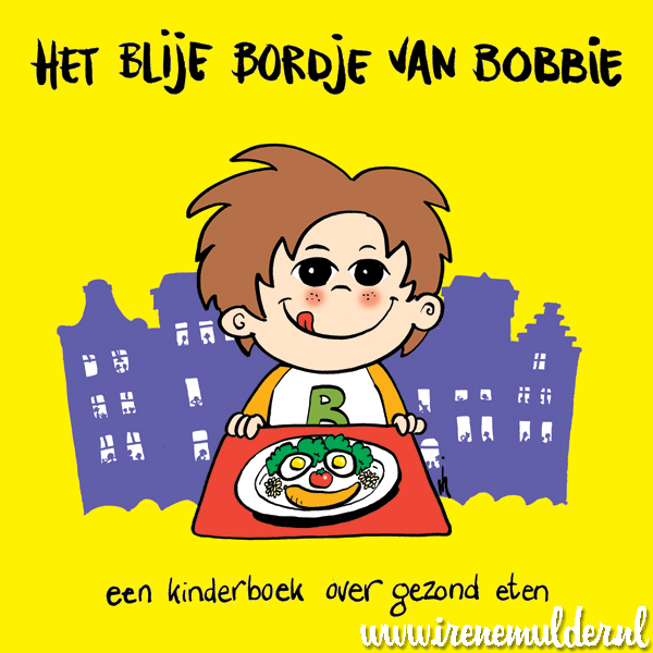 Tekening van een kind met lachend bord vol groente