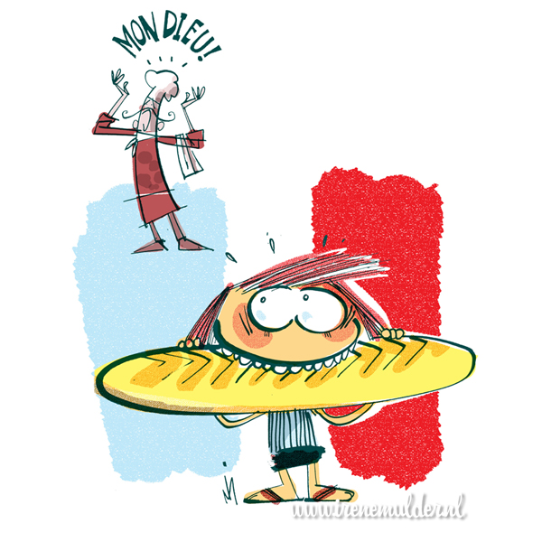 Tekening van kind met enorm stokbrood en verongelijkte Fransman