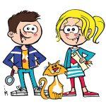 Illustratie vrolijke jongen en meisje en kat